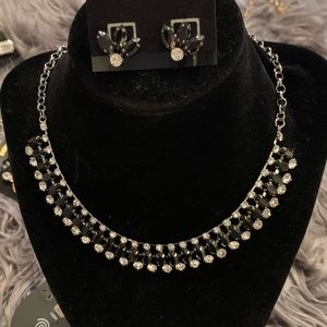Black diamond necklace with matching earrings